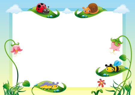 ladybugs: Funny card with empty space for text  Vector illustration, A3-A4-A5 sizes, proportioned