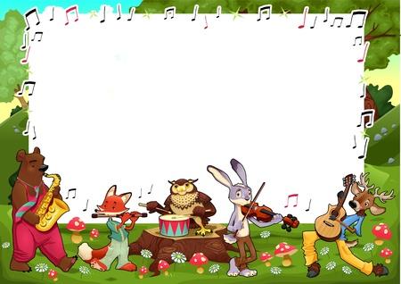 chiave di violino: Scheda divertente con spazio vuoto per il testo. Illustrazione vettoriale, formati A3-A4-A5, proporzionato.