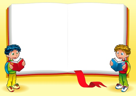 student reading: Funny card with empty space for text. Vector illustration, A3-A4-A5 sizes, proportioned.