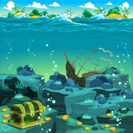 Seascape with treasure and galleon.  Illustration