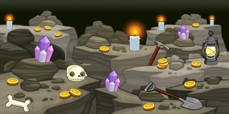 grotte: Mine avec des objets. Illustration