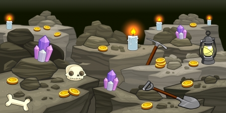 caverns: Mine with objects.  Illustration