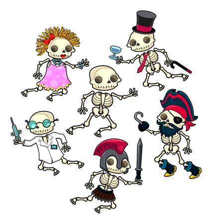 Funny skeletons. Vector and cartoon isolated character. Vector
