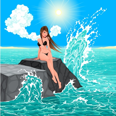 Beautiful woman and the sea  Vector illustration Illustration