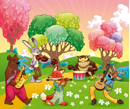 fable: Musician animals in a fantasy landscape. Cartoon and vector illustration.