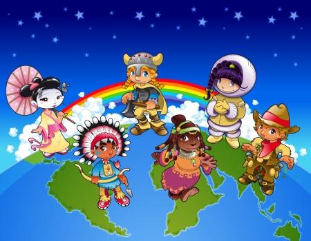 arcoiris caricatura: Los ni�os de todo el mundo. Divertidos dibujos animados e ilustraci�n vectorial Vectores