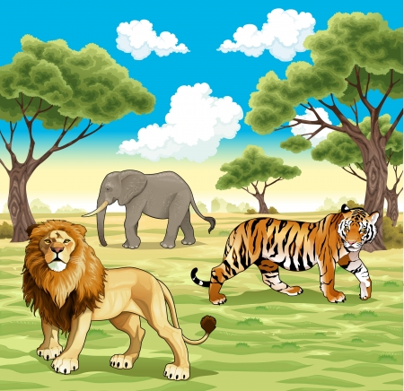 African animals in the nature. Vector illustration Vector