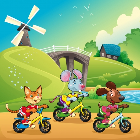bycicle: Pets are going for a ride in the countryside. Cartoon and vector illustration