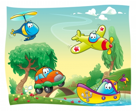 Funny vehicles in the countryside. Cartoon and vector illustration. Иллюстрация