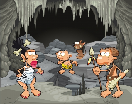 Funny prehistoric family in the cavern. Cartoon and vector illustration Vector