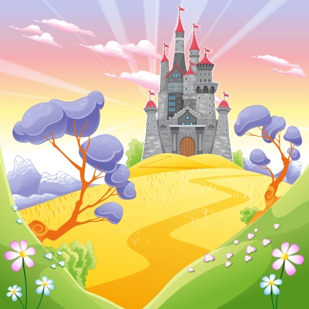 fantasy castle: Landscape with tower. Funny cartoon and vector illustration. Illustration