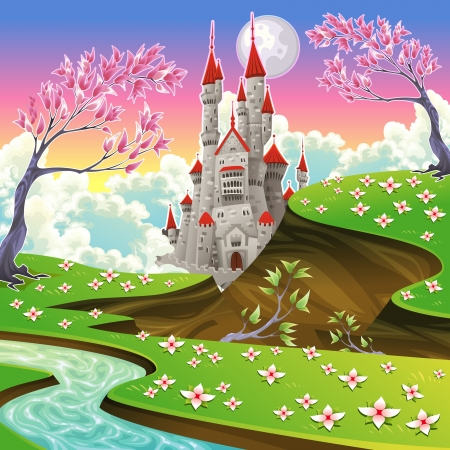 fairytale: Panorama with castle. Cartoon and vector illustration.