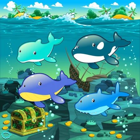 Seascape with treasure, galleon and fish. Vector cartoon illustration Stock Vector - 21743336
