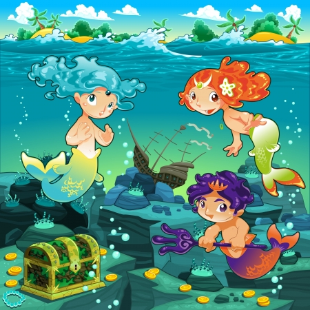 Seascape with mermaids and triton. Vector cartoon illustration  Иллюстрация
