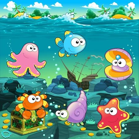 Paisaje marino con el tesoro, galeón y pescado. Ilustración de dibujos animados Vector