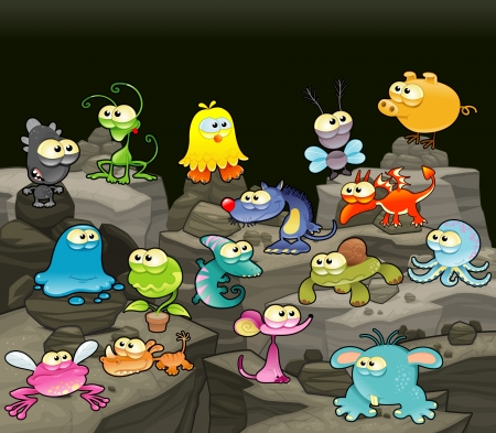 Family of monsters in the cave. Funny cartoon and vector isolated characters. Vector