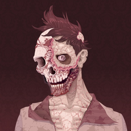 halloween ugly: Zombie portrait. Horror and vector illustration