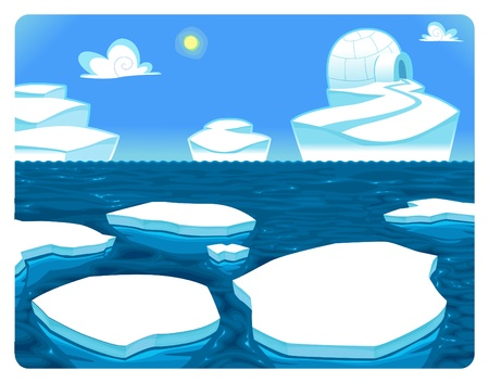 Polar scene cartoon illustration Иллюстрация
