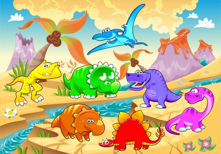 Dinosaurs rainbow in landscape. Funny cartoon and vector illustration  Vector