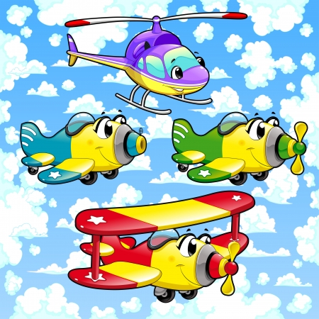 Cartoon airplanes and helicopter in the sky. Funny vector illustration.