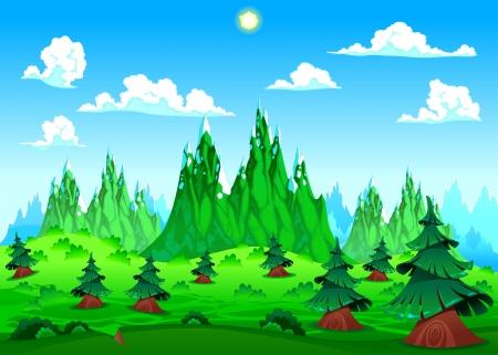 bucolic: Paesaggio di montagna. Vector cartoon illustrazione