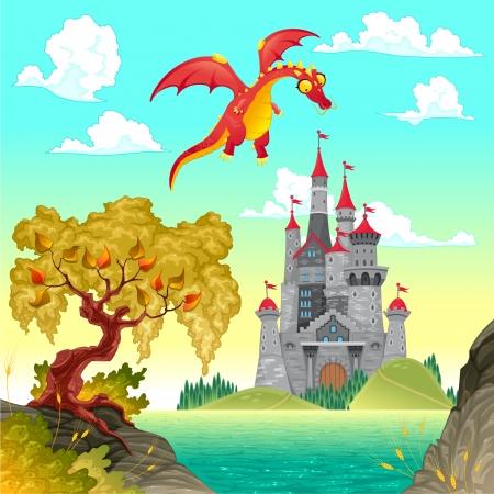 景觀: 幻想景觀與城堡和龍。向量插圖。
