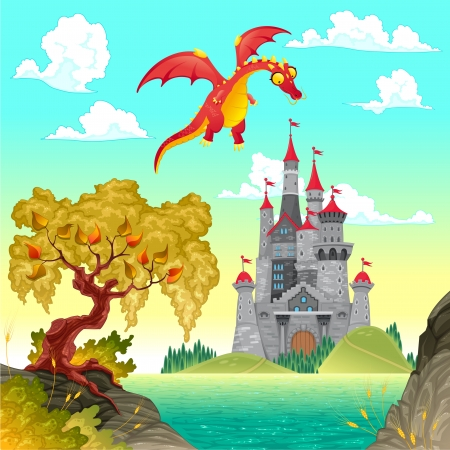 rural landscapes: Fantasy landscape with castle and dragon. Vector illustration. Illustration