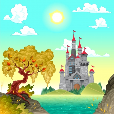 Fantasy landscape with castle. Vector illustration.