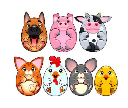 funny animal: Animales divertidos redondeados como los huevos. Personajes de dibujos animados, vectoriales y aislado.