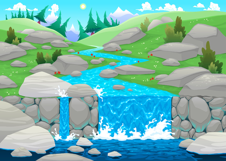 river vector: Mountain landscape with river. Cartoon and vector illustration