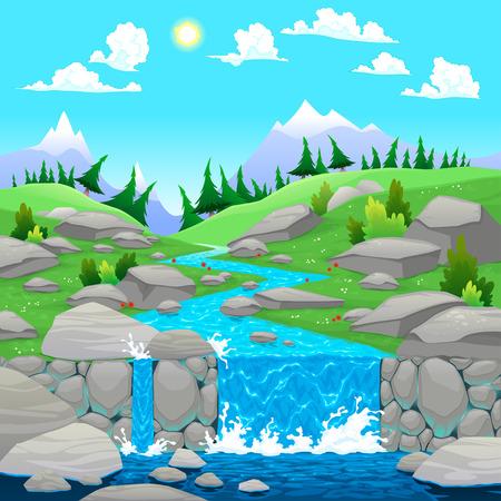 Paisaje de montaña con el río. Dibujos animados e ilustración vectorial