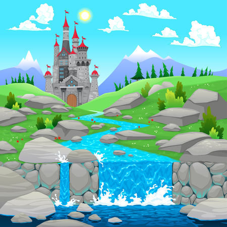 Mountain landscape with river and castle. Cartoon and vector illustration