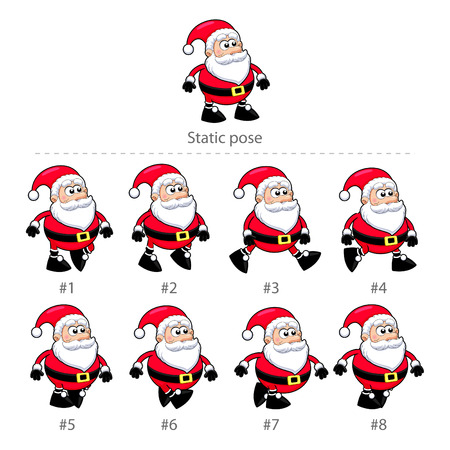 Santa Claus walking frames. Animation for mobile game, vector isolated objects. Vettoriali