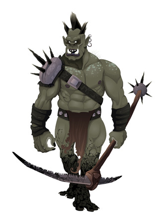 troll: Warrior ogre. Vector isolated character.  Illustration