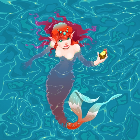 Mermaid in the water with a piece of gold. Vector illustration Illustration