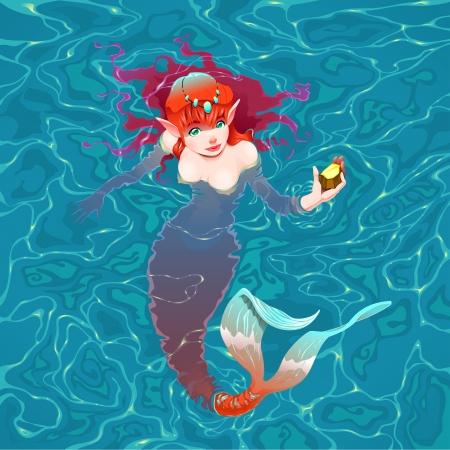 colori: Sirena in acqua con un pezzo d'oro. Vector illustration