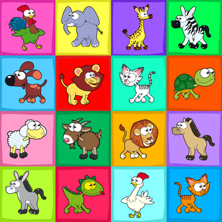 Group of funny animals. Vector, cartoon isolated characters.