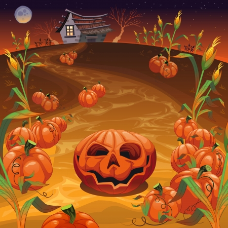 Pumpkins in the field. Funny cartoon and vector Halloween illustration.   Vector