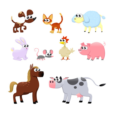 Farm animals. Funny cartoon and vector isolated characters. Vector