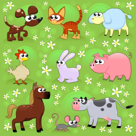 Farm animals. Funny cartoon and vector isolated characters. Stock Vector - 24018583