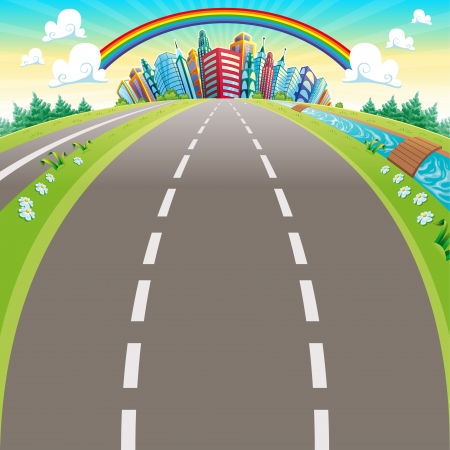 Roads to the city. Cartoon vector illustration Vector