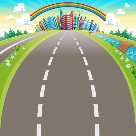 cartoon rainbow: Roads to the city. Cartoon vector illustration