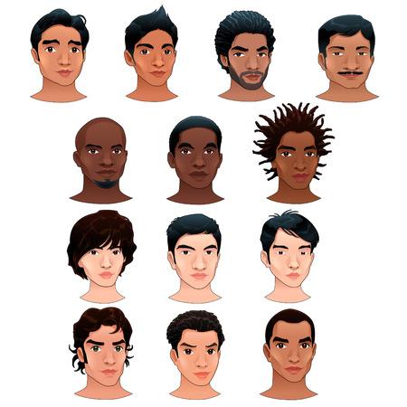 asian happy family: Indian, black, asian and latino men. Vector isolated avatars.