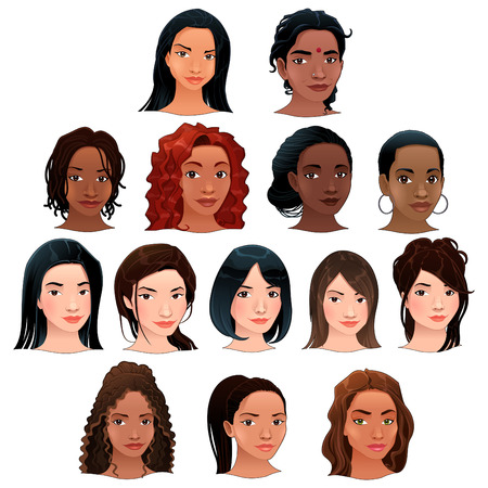 asian: Indian, black, asian and latino women. Vector isolated avatars.