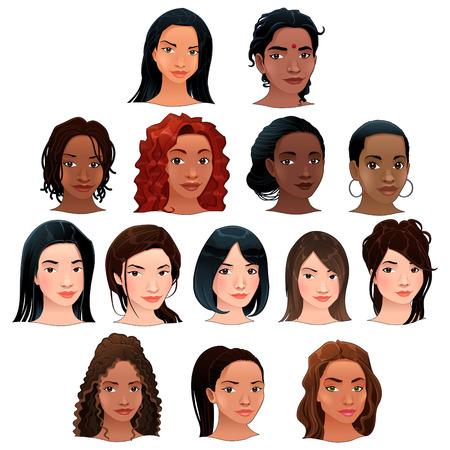 familia asiatica: Las mujeres ind�genas, negras, asi�ticas y latinas. Vector aislados avatares. Vectores