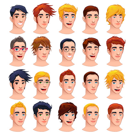 Avatar men. Cartoon vector isolated characters.