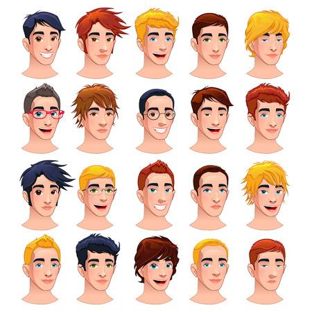 caras felices: Hombres del avatar. Aislado vector de la historieta caracteres.