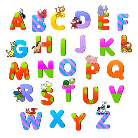 Alfabeto con gli animali. Divertenti cartoni animati e oggetti vettoriali isolato. Archivio Fotografico - 24028653