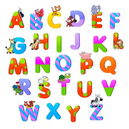 Alphabet with animals. Funny cartoon and vector isolated items. Vector