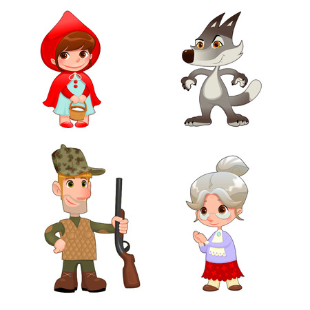 fable: Little Red Hiding Hoods characters. Funny cartoon and vector isolated items.